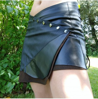 Leather Jean Skirt